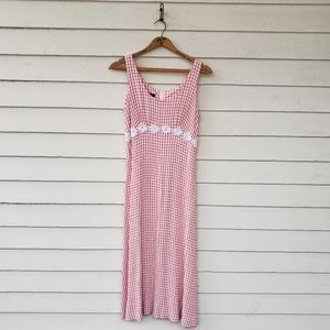 Vintage 1990s Seersucker Pink Gingham Tank Dress